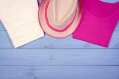 Foto del vintage, ropa para la mujer para las vacaciones y verano Fotos de archivo