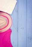 Foto del vintage, ropa para la mujer para las vacaciones y verano, espacio de la copia para el texto Foto de archivo