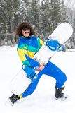 Foto del vintage del snowboarder del hombre joven foto de archivo libre de regalías
