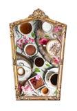 Foto dell'alimento nei telai d'annata isolati su fondo bianco fotografia stock libera da diritti