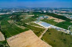 Foto dell'antenna della zona industriale e di azienda agricola Fotografia Stock Libera da Diritti