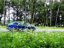 Foto dell'automobile in a piena vista Bello blu giapponese dell'automobile Dettagli e primo piano fotografie stock