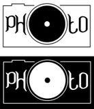 Foto dell'iscrizione con la lettera sotto forma di logo di minimalismo dell'obiettivo Immagine Stock Libera da Diritti