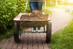 Foto della carriola del giardino con terra al giorno soleggiato Fotografia Stock