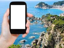 Foto della città Tossa de Mar sul cappuccio di Tossa, Spagna Immagine Stock Libera da Diritti