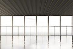 Foto della costruzione moderna della stanza dello spazio aperto Stile interno vuoto del sottotetto con il pavimento di calcestruz Immagine Stock