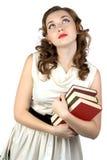 Foto della donna di sogno con i libri Fotografie Stock Libere da Diritti