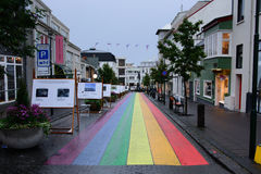 Foto della via a Reykjavik Immagine Stock