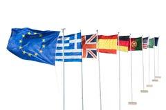 Foto delle bandiere europee Fotografia Stock