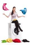 Foto dello studio dei vestiti di riciclatori della donna immagini stock