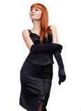 Foto den härliga flickan i den svarta klänningen Arkivbilder