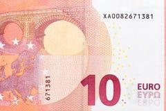 Foto der Banknote des Euros zehn im Makro Lizenzfreie Stockfotos