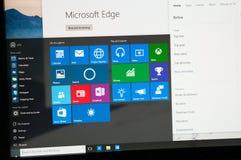 Foto der Eingeweihtvorschau Windows 10, die auf einem PC läuft Stockbild