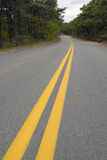 Foto der gelben Zeilen auf Straße Stockfoto