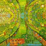 Foto der Malerei: ` Grünes Stadt-` durch Hundertwasser stockbild