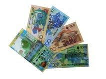 Foto der modernen Banknoten von Kazakhstan. stockfotos