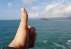 Foto der Palme mit dem Finger hoch und Seeküste, bewölkter Himmel Lizenzfreie Stockbilder