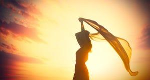 Foto der schönen jungen Frau mit Schal auf dem wunderbaren Lizenzfreie Stockfotografie