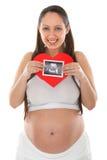 Foto der schwangeren Frau und des Ultraschallscans Lizenzfreies Stockbild