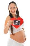 Foto der schwangeren Frau und des Ultraschallscans Lizenzfreie Stockfotografie