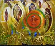 Foto der ursprünglichen Malerei 'The Sun und des Lebens 'durch Frida Kahlo Frameless lizenzfreie stockfotografie