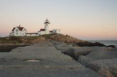 Foto des östlichen Punkt-Leuchtturmes in Neu-England Stockbild
