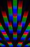 Foto des Beugungsmusters des Lichtes von der weißglühenden Spirale, erhalten mithilfe zwei Beugungsgitter Stockfotos