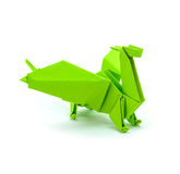 Foto des grünen Drachen des Origamis lokalisiert auf weißem Hintergrund Lizenzfreie Stockfotos