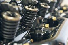 Foto des Maschinenteils Teil der Maschine eines Autos oder des Flugzeuges Industrieller Hintergrund stockfoto