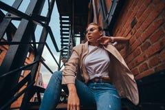 Foto des niedrigen Winkels der unversch?mten Frau in der Sonnenbrille und im Denim am Hinterhof stockbilder