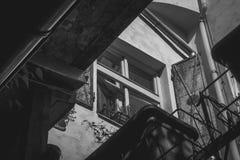 Foto des niedrigen Winkels des Fensters Stockfotos