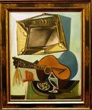 Foto des ursprünglichen Malerei ` Stilllebens mit Gitarre ` durch Pablo Picasso Stockbilder