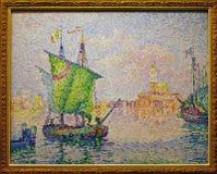 Foto des ursprünglichen Malerei ` Venedig, das rosa Wolke ` durch Paul Signac lizenzfreie stockfotos