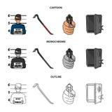Foto des Verbrechers, Schrott, offenes Safe, Richtungsgewehr Gesetzte Sammlungsikonen des Verbrechens in der Karikatur, Entwurf,  lizenzfreie abbildung