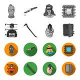 Foto des Verbrechers, Schrott, offenes Safe, Richtungsgewehr Gesetzte Sammlungsikonen des Verbrechens im einfarbigen, flachen Art stock abbildung