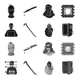 Foto des Verbrechers, Schrott, offenes Safe, Richtungsgewehr Gesetzte Sammlungsikonen des Verbrechens im schwarzen, einfarbigen A stock abbildung