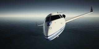 Foto des weißen generischen LuxusDesigns private Jet Flying im Himmel nachts Blauer Ozeanhintergrund Dienstreisebild Stockfotografie