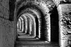 Foto desenvolvida preto e branco do interior do castelo Karak com as luzes elétricas unidas para os turistas e os visitantes foto de stock royalty free