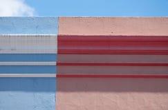 Foto detalhada das casas no quarto malaio, BO Kaap, Cape Town, ?frica do Sul ?rea hist?rica de casas brilhantemente pintadas foto de stock