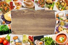 Foto di alimento su una tavola di legno Fotografie Stock
