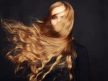 Foto di bella donna con capelli magnifici. Trucco perfetto Fotografie Stock
