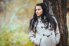 Foto di bella ragazza abbastanza castana in parco Fotografia Stock Libera da Diritti