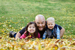 Foto di famiglia di caduta Immagine Stock