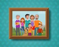 Foto di famiglia sulla parete nel telaio di legno Illustrazione di vettore del fumetto illustrazione vettoriale
