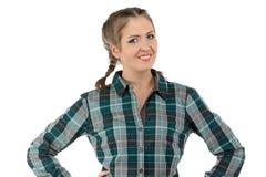 Foto di giovane donna sorridente dell'agricoltore Fotografia Stock Libera da Diritti
