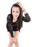 Foto di modo del vestito d'uso dalla bella giovane donna Fotografie Stock Libere da Diritti