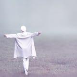 Foto di modo Ragazza di fascino in un vestito bianco nel legno facilità immagine stock libera da diritti