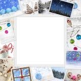 Foto di Natale con lo spazio della copia Fotografie Stock Libere da Diritti