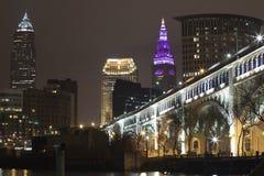 Foto di notte del ponte del superiore di Detroit Immagine Stock