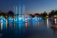 Foto di notte delle fontane di canto in città di Filippopoli Fotografie Stock Libere da Diritti
